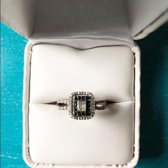 14d986bbe Kay Jewelers Jewelry - KAY Black Diamond Ring Princess-Cut 10K White Gold